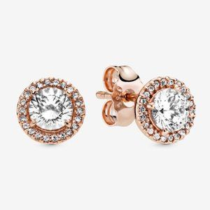 Pandora Round Sparkle Halo Stud Earrings